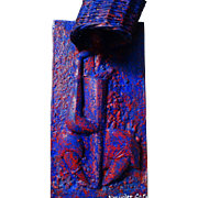 "ALEXANDER GORE (Russian/American 20th Century) Large Original Signed Abstract Mixed Media ""Drumming Alone"" (Impasto) Sculpture/Wall Hanging"