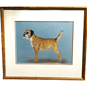 Original Vintage Watercolor Of A Terrier,  Signed JUDY BELL