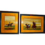 "EDWARD LARSON (American, b. 1931) -PAIR Of Western Folk Art Original Signed/Dated  Oil On Tin, ""Pursued"" and ""Huntin' For Trout"""