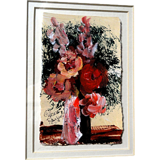 "ANNA SANDHU RAY (American, b. 1946) - Original Signed Folk Art Oil Painting ""Bouquet"""