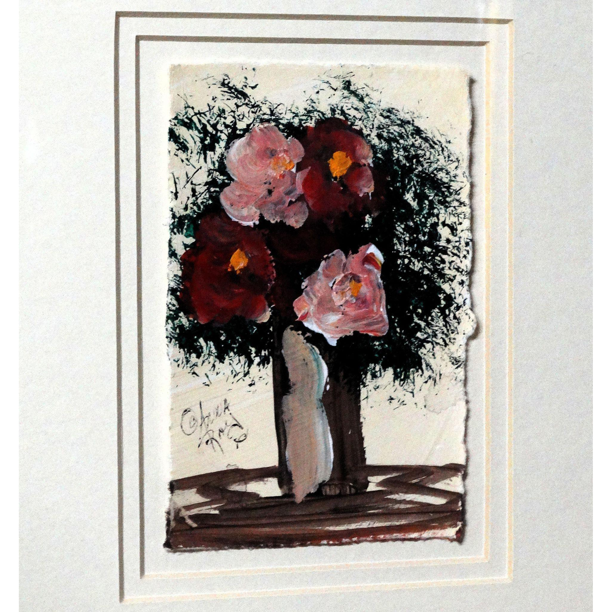 "ANNA SANDHU RAY (American, b. 1946) - Original Signed Folk Art Oil Painting ""Four Flowers In A Tree"""