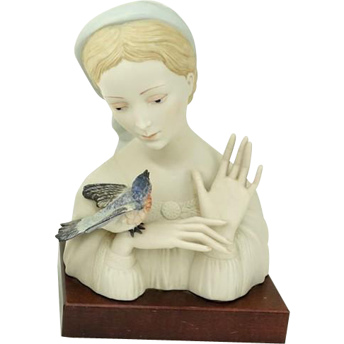 "Cybis Closed Edition - ""Madonna With Bird"" c. 1950's, Artist Laszlo Ispanky, Original Edition"