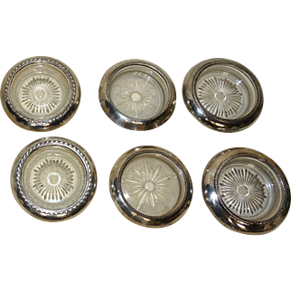 Nine Assorted Sterling Silver Over Glass Coasters, Some Frank Whiting, All Marked