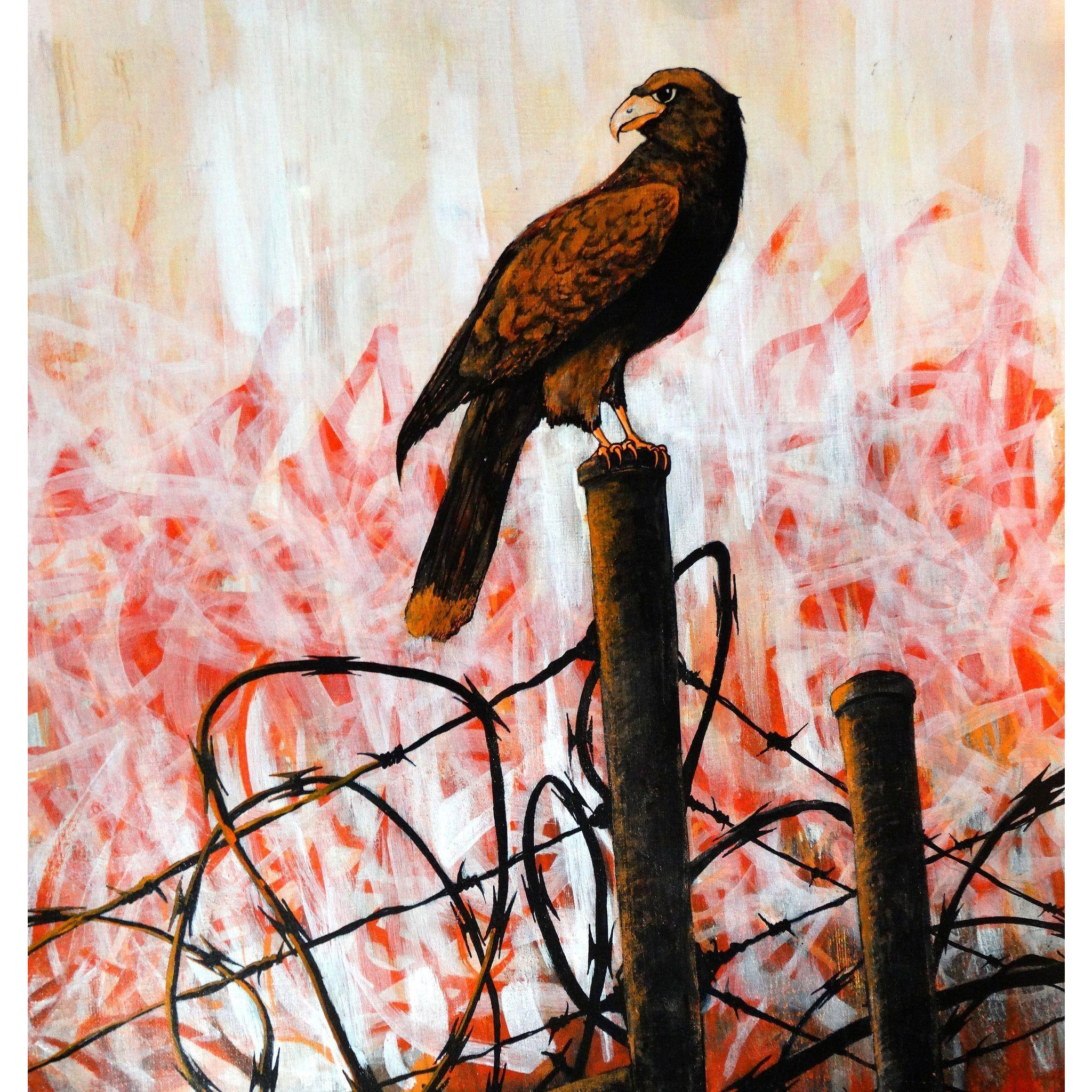 "OUTSIDER ARTIST Marcel 'Sel' Blanco (American, 20th Century)  ""Falcon On The Fence"" Original Signed Acrylic and Marker on Canvas Paper"