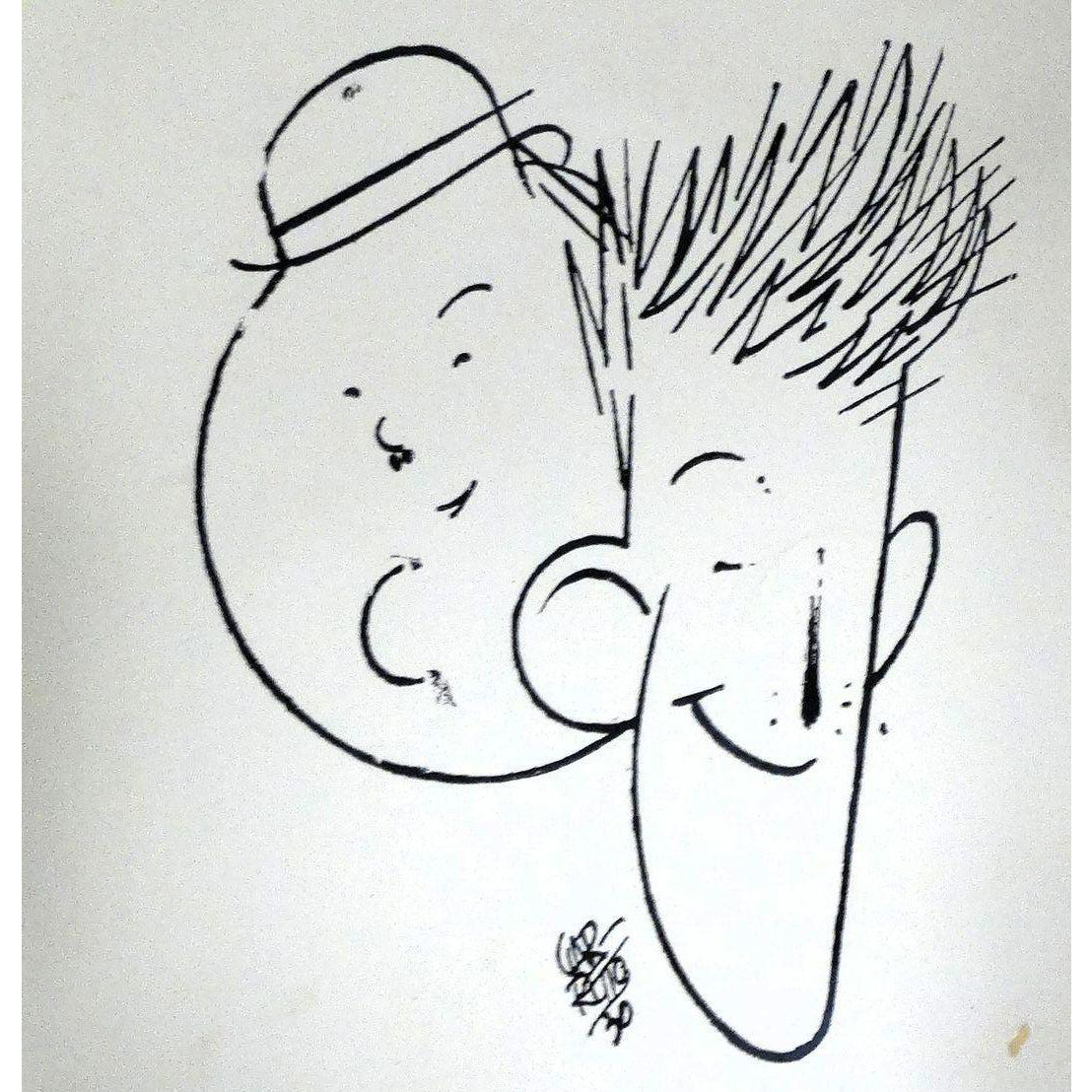 LAUREL and HARDY Caricature Image, by Garretto, 1930, From the Collection of Lois Laurel Hayes, Daughter of Laurel