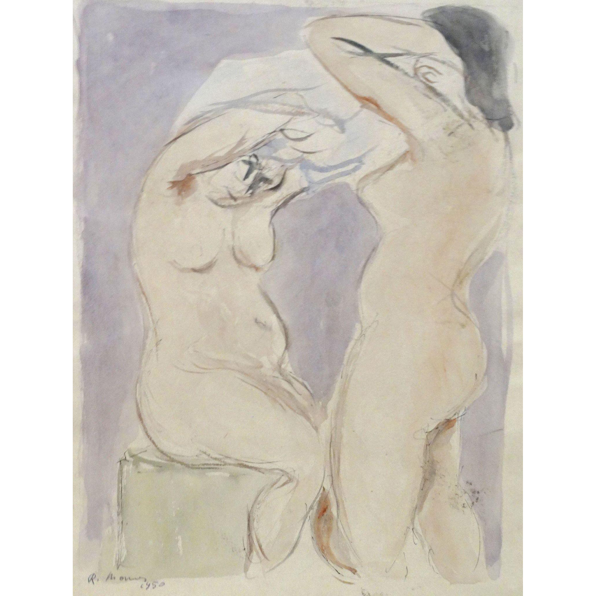 "Original Signed Watercolor From Italy  ""Two Nudes"" Mid Century"