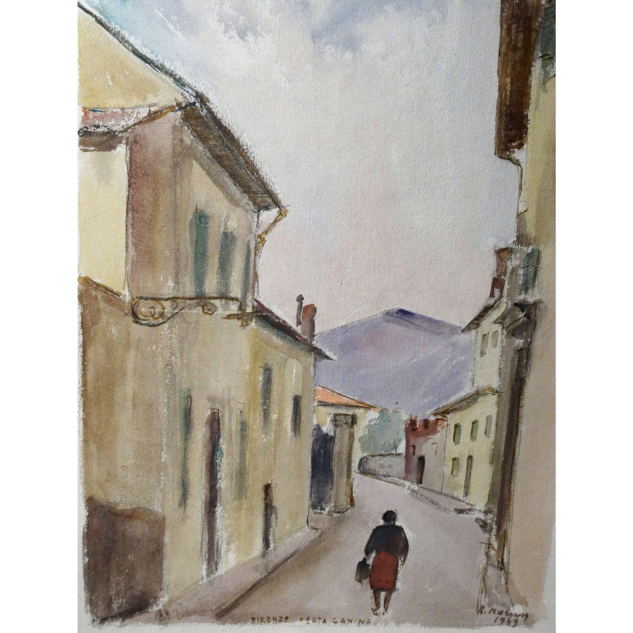 "Original Signed Watercolor From Italy, ""Firenze Erta Canina"" Mid Century"