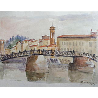 "Original Signed Watercolor From Italy, ""Firenze Ponte A. S. Ternita"" Mid Century"