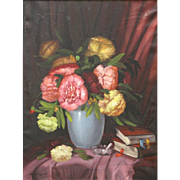 "ROMANIAN SCHOOL - Signed Original Still Life Oil On Canvas ""Bouquet With Books"""