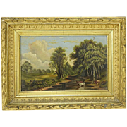 "19th Century European School Original Oil on Panel ""Peaceful Countryside"""