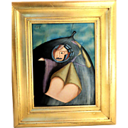 SURREALIST Original Signed Oil On Canvas - Modern Art At Its Best!