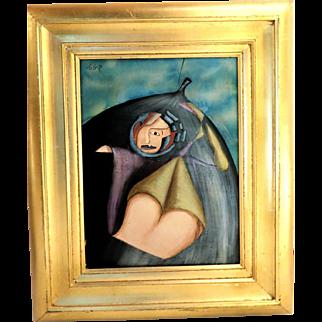 SURREALIST Original Signed Oil On Canvas - Modern Art At Its Best!