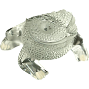 """LALIQUE """"Gregoire"""" Crystal Frog Paperweight Sculpture; Signed."""