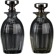 TIFFANY and Co - PAIR of Sterling Silver and Cut Glass Perfume Bottles, Signed and Numbered