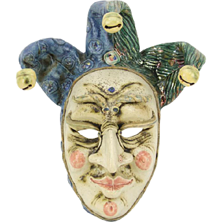 """Venetian Handmade Glaze and Polychrome Ceramic Mask """"Je Giullare"""" (The Jester) - Artist Signed, Titled -  mid 20th Century - Italy"""