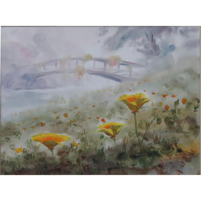"MARIANO ORTUZAR (Chilean, b 1900) - Original Signed/Dated Watercolor ""Flowers Overlooking The River"" - Exquisite Impressionist"