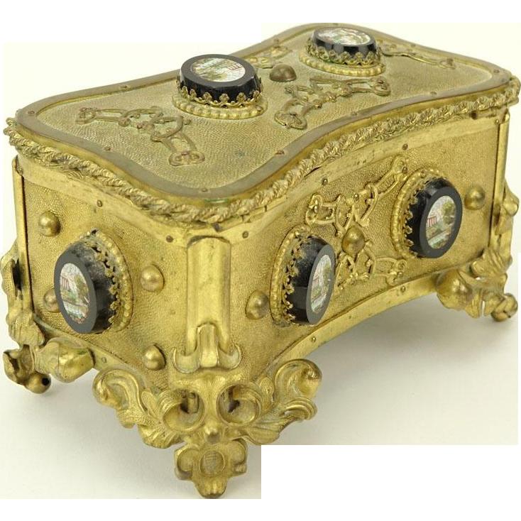 Antique Victorian Gilt Brass Micro Mosaic Box, Total of EIGHT Micro Mosaics