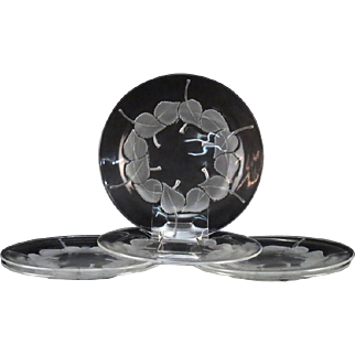 """LALIQUE (France) - SIX (6) Clear and Frosted Long Discontinued Rare """"Rolleboise"""" Plates"""