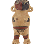 Inca Empire (Peru) Polychrome Ceramic Fertility God Figurine.