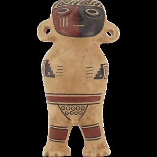 Inca Empire (Peru) Polychrome Ceramic Fertility God Figurine.