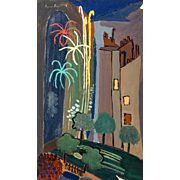 "SUZANNE ROGER (French, 189 - 1986) -Original Signed Oil On Canvas ""Le feu d'artifice"" - Outstanding Surrealist"
