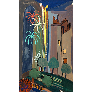 """SUZANNE ROGER (French, 189 - 1986) -Original Signed Oil On Canvas """"Le feu d'artifice"""" - Outstanding Surrealist"""