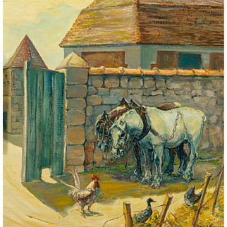 """DANIEL ROUVIERE (French, 20th Century) - Signed Original Oil On Panel """"Morning On The Farm"""""""