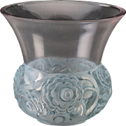 R. LALIQUE Very Rare Renoncules Vase with Blue Patina. Circa 1930