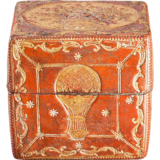 18th Century  French Gilt-Embossed Red Leather Playing Card Case with Balloon Motif
