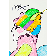 "PETER MAX (German/American b. 1937) - Original Signed ""Lady In Profile"" - Why pay the same for a lithograph when we offer an original!"