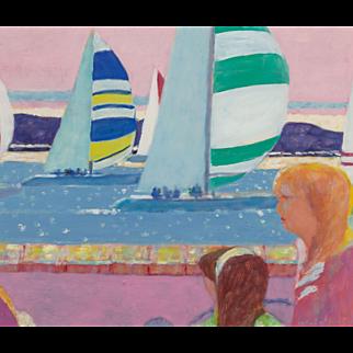 "ROBERTO ORTUNO PASQUAL (Spanish, born 1953) ""Yacht"" Original Signed Oil on Canvas, Impressionist"