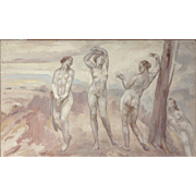 "CONTINENTAL SCHOOL (20th Century) Original Oil On Canvas ""Nude Study"""