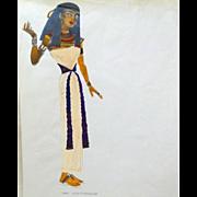 "JEAN LOUIS (French/American 1907 - 1997) - Original Costume Sketch For Salome (Columbia, 1953) -, ""Wakara, A Handmaiden"" - Mixed Media"