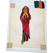 "JEAN LOUIS (French/American 1907 - 1997) - Original Costume Sketch For Salome (Columbia, 1953) -, ""CARAVAN"" - Mixed Media With Three Fabric Swatches"