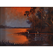 "WILLIE DANIELS (American Born 1950) - Florida Highwayman Original Oil ""Fire Sky Over The Marsh """