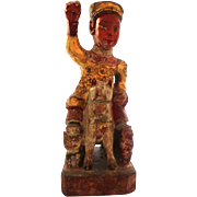 Chinese Parcel Gilt and Polychrome Decorated Carved Wood  Royal Person On Horseback