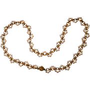 Signed Miriam Haskell Goldtone and Faux Pearl LONG Necklace, 30  1/2 inches long, circa 1950s