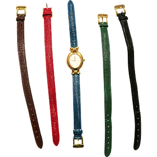 FENDI Goldtone Watch With Four Extra Straps In Red, Green, Blue and Black