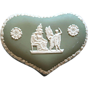 Valentine's Day WEDGWOOD Heart Trinket or Dresser Box, Sage Green And White Jasperware,  Lidded,