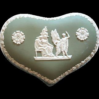 Valentine's Day WEDGWOOD Heart Trinket or Dresser Box, Sage Green And White Jasperware,  Lidded,