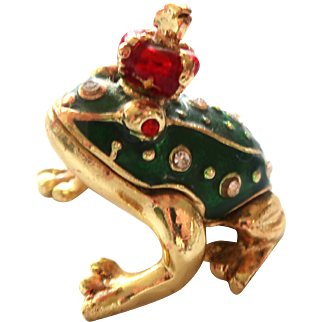 """FROG PRINCE Trinket Box or Pill Box, From Two's Company, Enameled and """"Jeweled"""""""