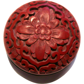 Cinnabar Round Trinket Box With Well Carved Lotus Flower, Chinese