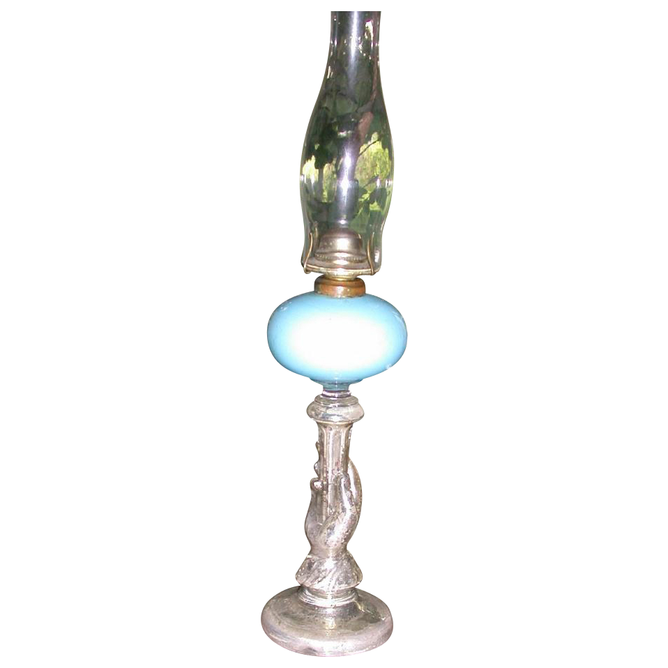 Victorian Mercury Glass Oil Lamp, late 19th Century