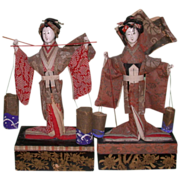 Antique Pair of Japanese Festival Dolls, Matsukaze and Murasame