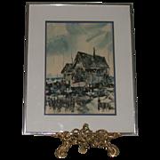 "Original Watercolor - ""Harbor"" - Signed by artist, Blicharski"