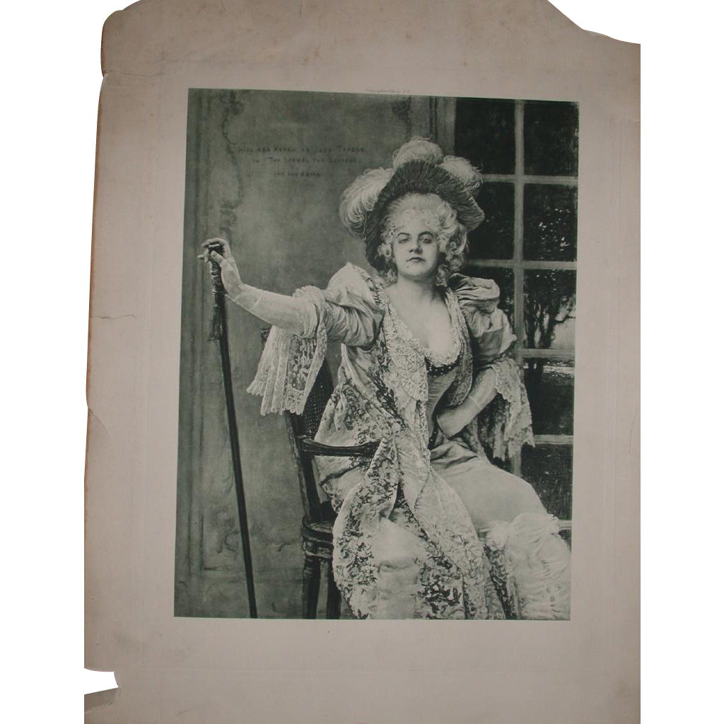 "Marvelous Antique Print of Miss Ada Rehan as Lady Teazle in ""The School For Scandal"" by Ian van Beers, c 1894"