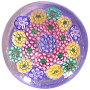 Lift Your Spirits With This Delightful And Colorful Millefiori Art Glass Paperweight! - Red Tag Sale Item
