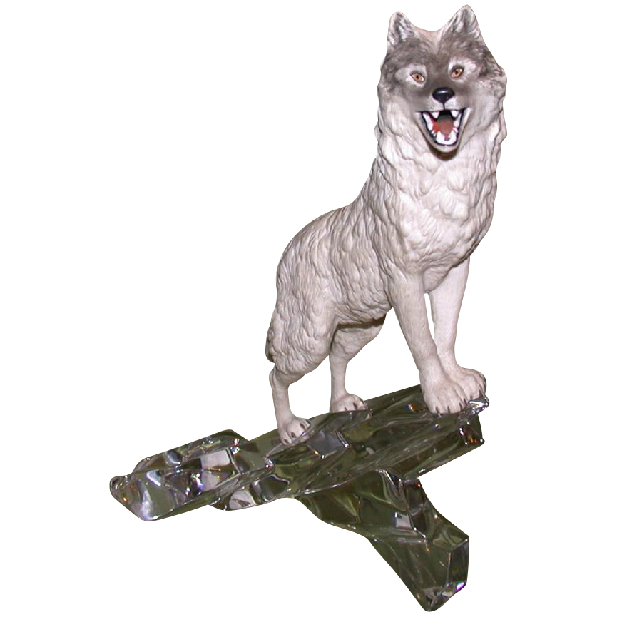 Mixed Media Sculpture of a Wolf On A Crystal Lookout - Signed -