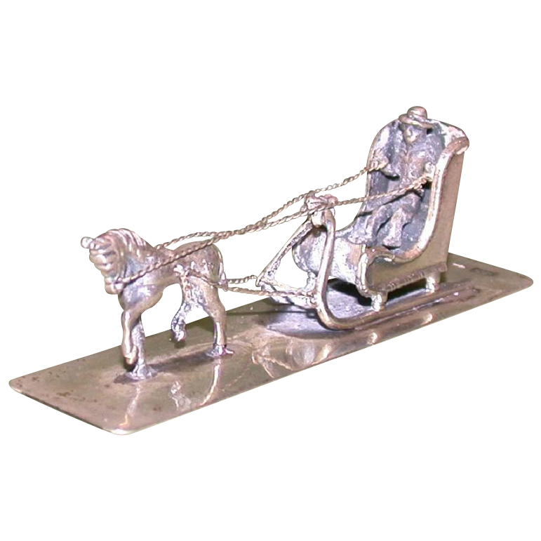 Continental Silver Miniature Horse Drawn Sleigh, c 1900