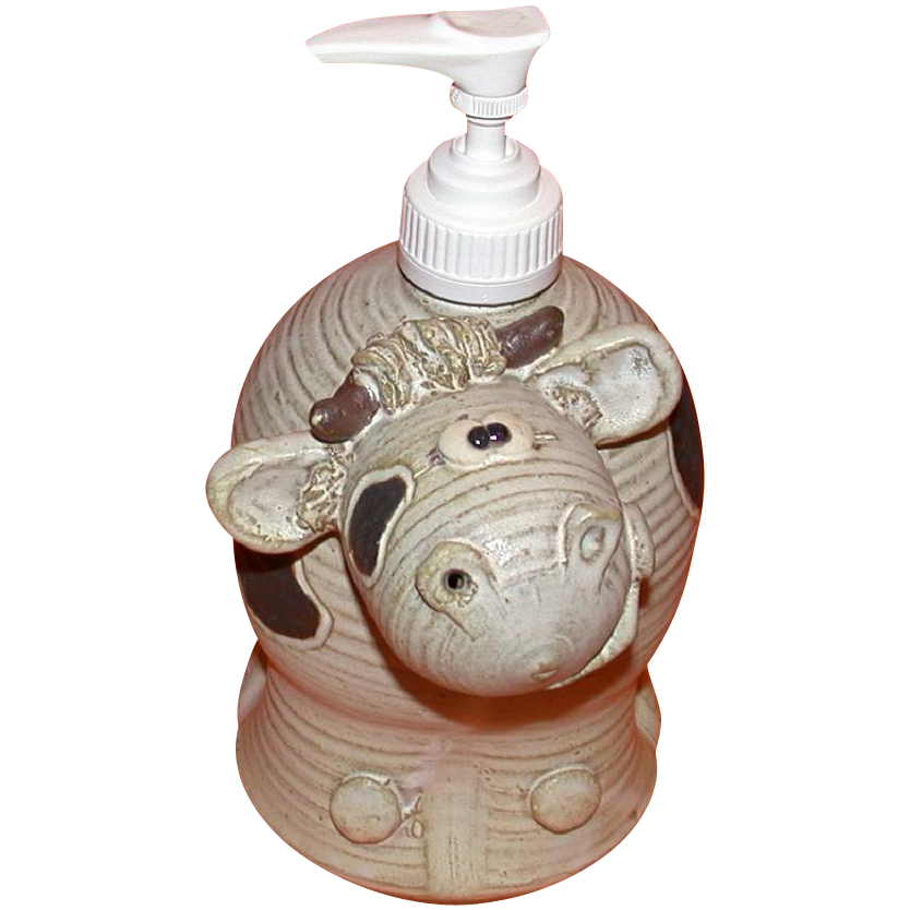 "FOGARTY Pottery ""Cockeyed Cow"" Large Hand Cream Dispenser"